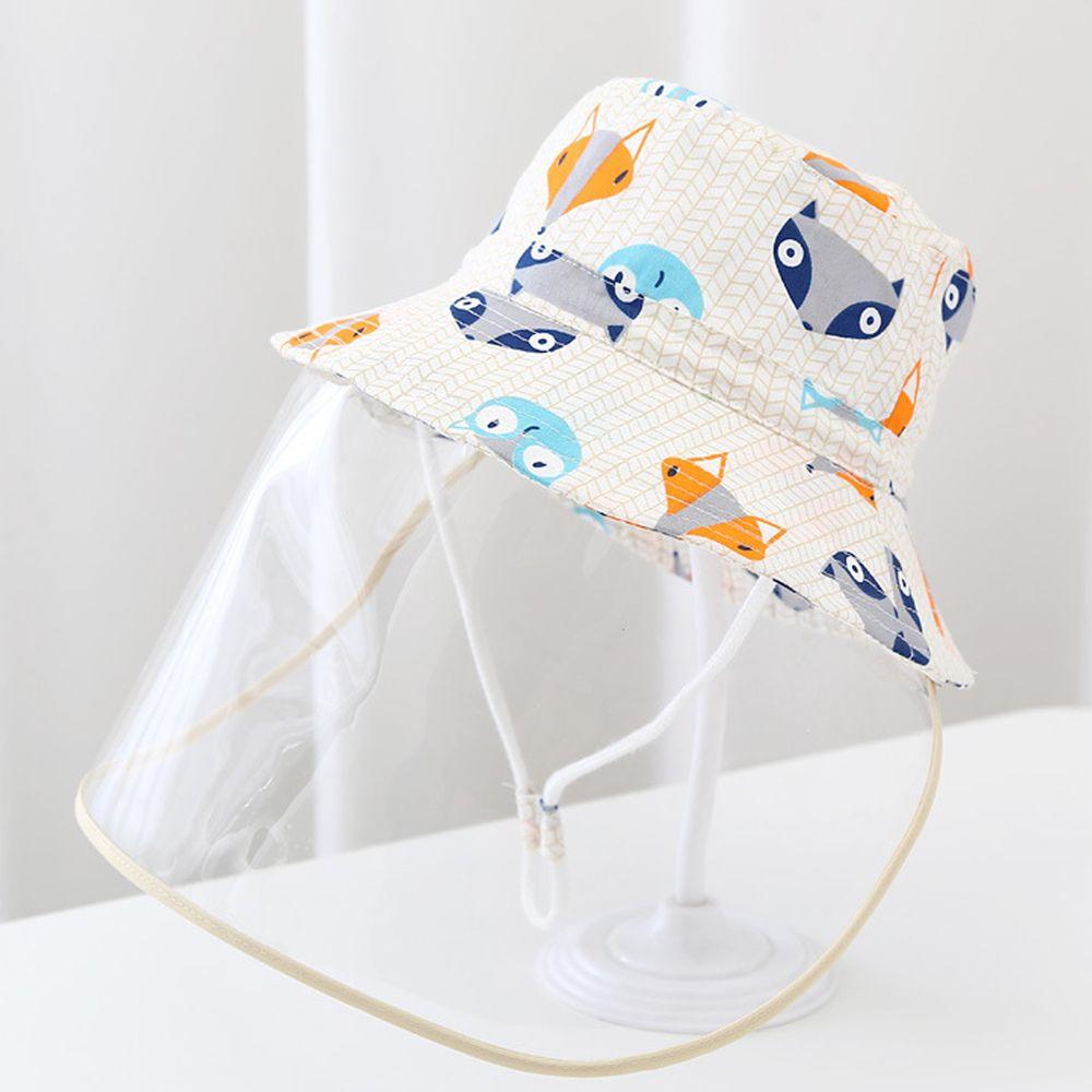 兒童防飛沫面罩遮陽漁夫帽-米色狐狸-面罩可拆