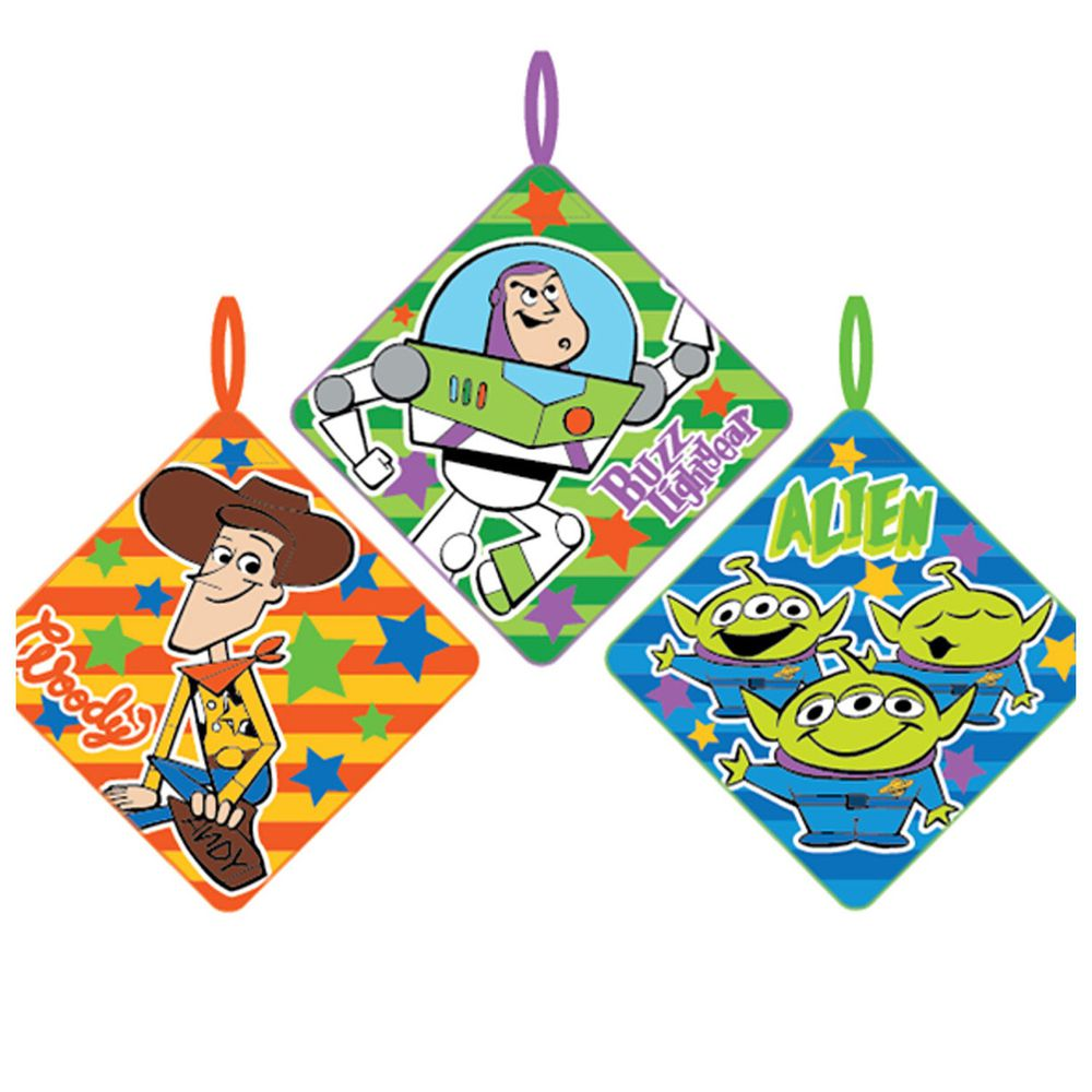 日本代購 - 卡通可掛式方巾/擦手巾三件組-玩具總動員-橘綠藍 (28x28cm)