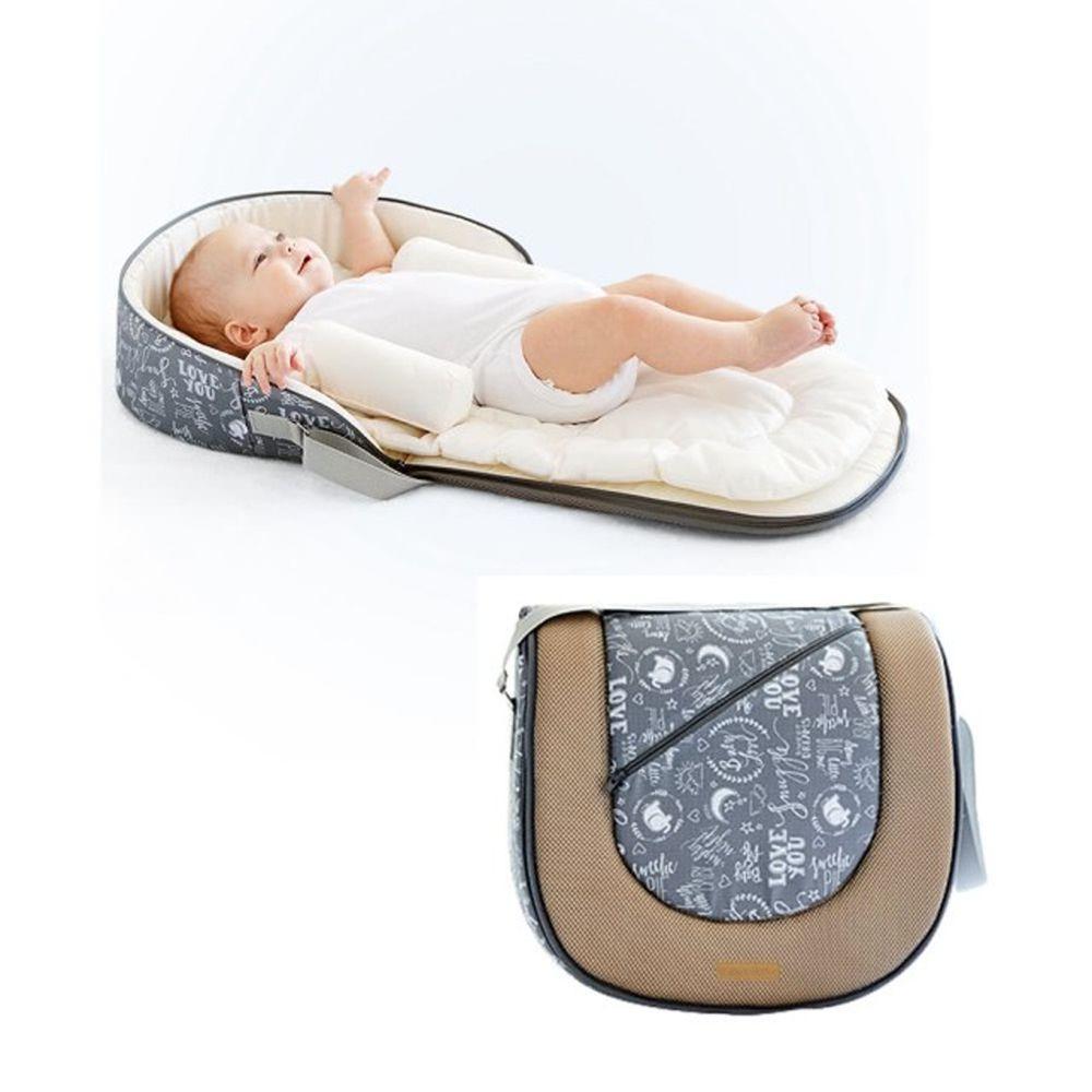 HANNIKD - 外出便攜式床中床(送睡墊+防翻身枕)-氣質灰