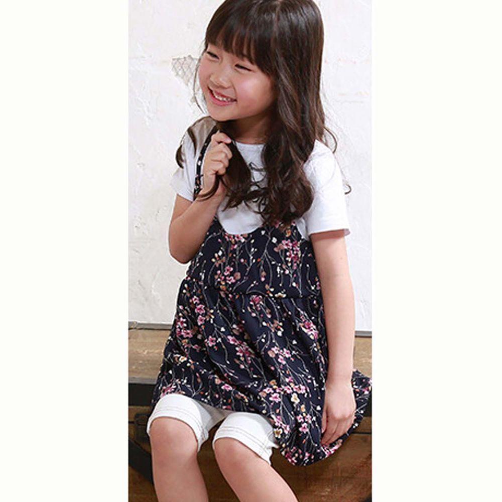 日本 TORIDORY - 假兩件碎花細肩背心X短T洋裝-深藍