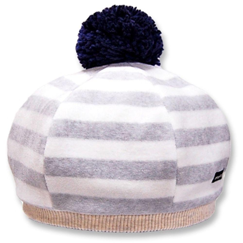 日本 Connect M - 日本製可愛冬帽-小童款-貝蕾帽_灰白條紋-83-1015