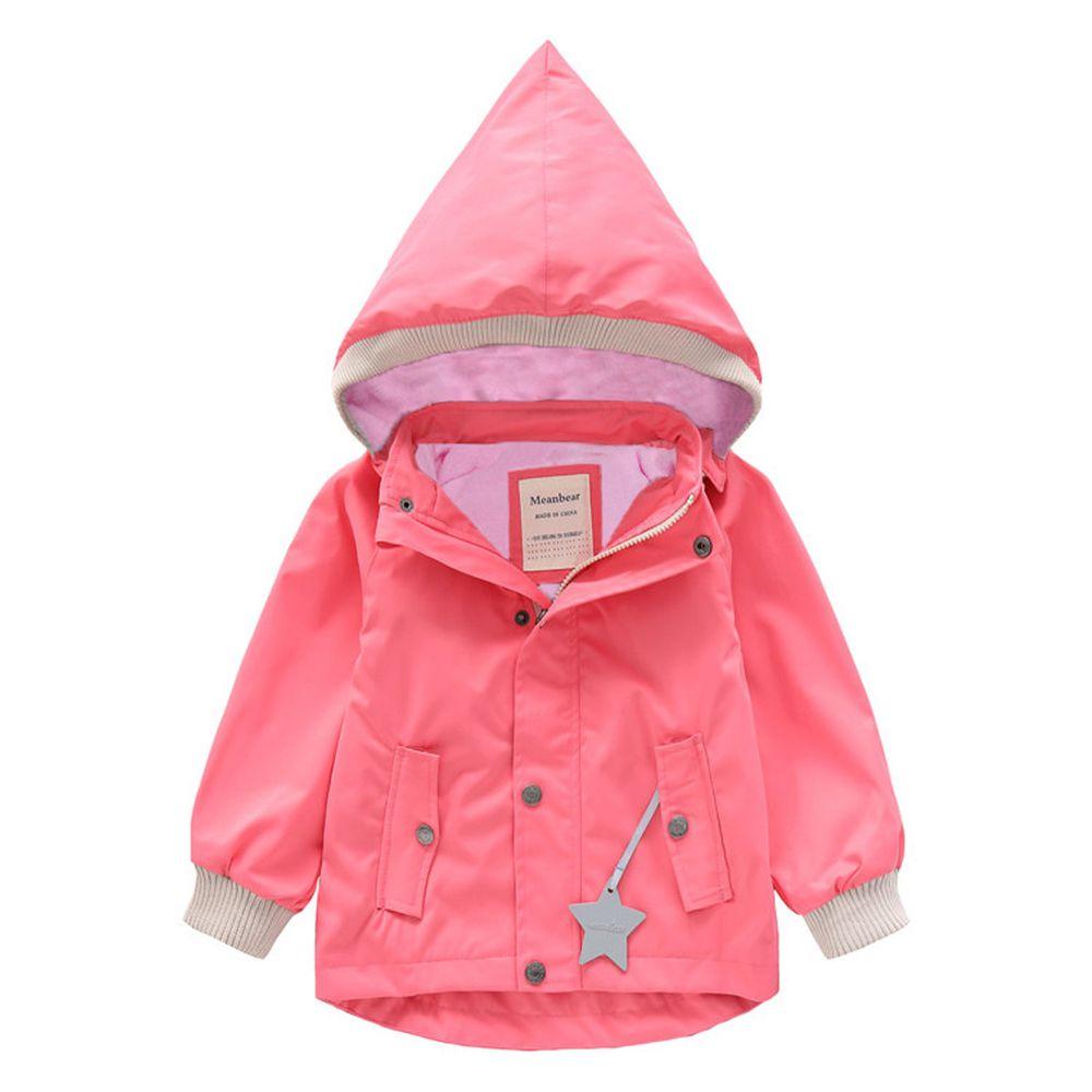 防風防雨加絨衝鋒外套-尖帽-粉色