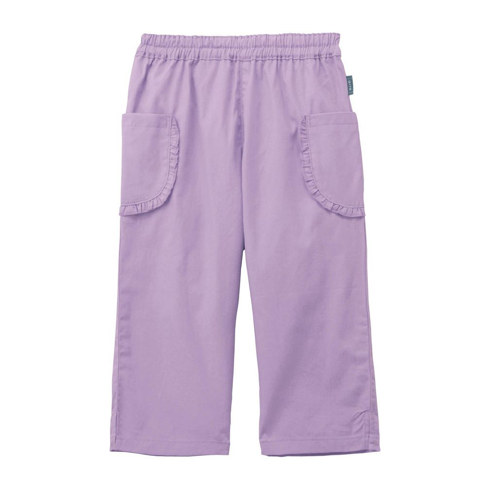 日本千趣會 - GITA 純棉接觸冷感七分褲-荷葉邊口袋-紫
