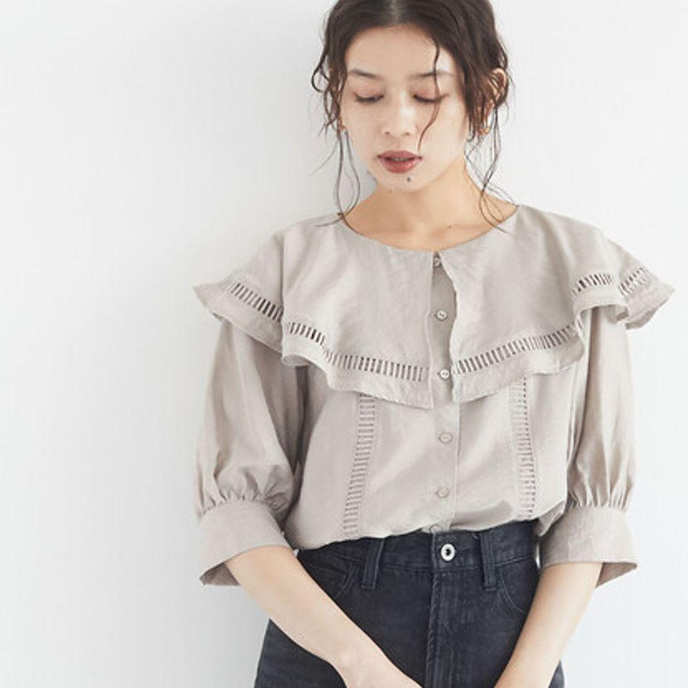 日本 ELENCARE DUE - 大荷葉鏤空領五分袖襯衫/外套-白