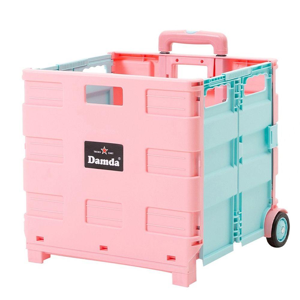韓國 Damda - 折疊收納手拉車-大-粉紅/天藍-尺寸:42X36.5cm, 容量57L