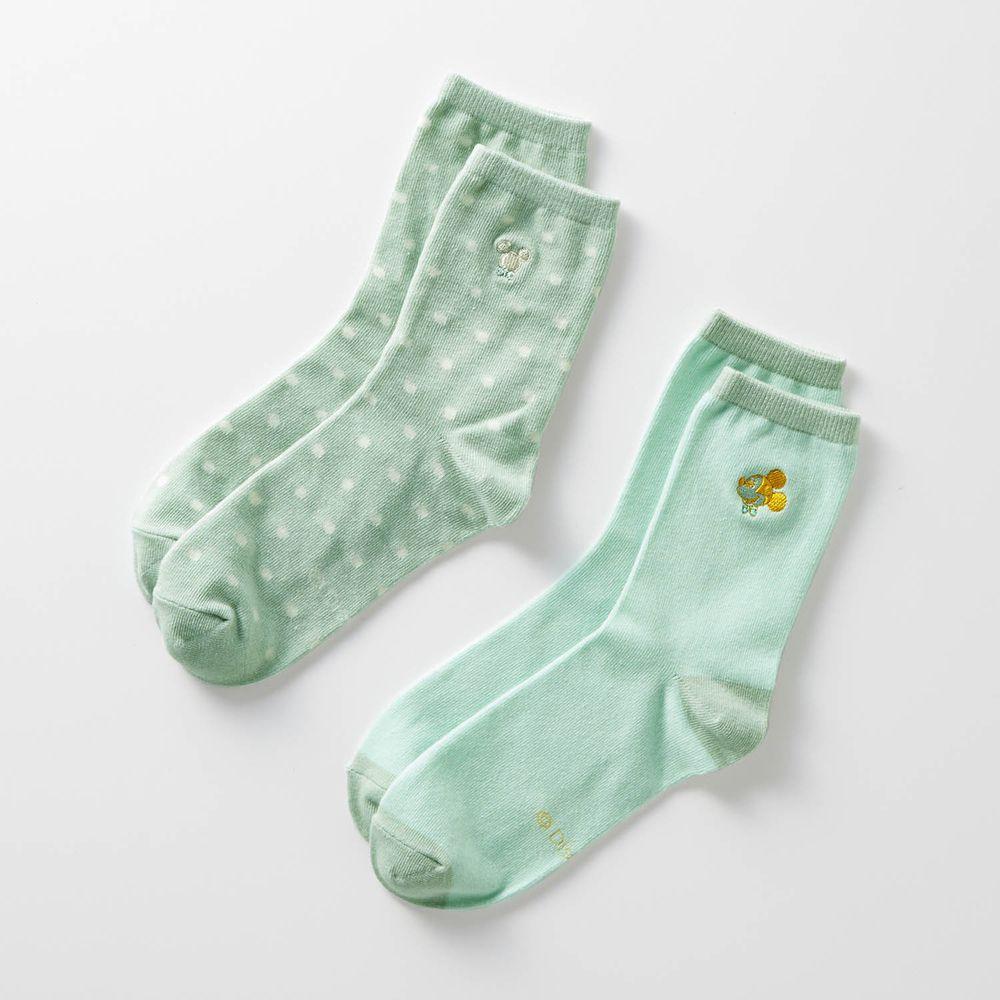 日本千趣會 - 迪士尼中筒襪兩件組-米奇-薄荷綠 (23-25)