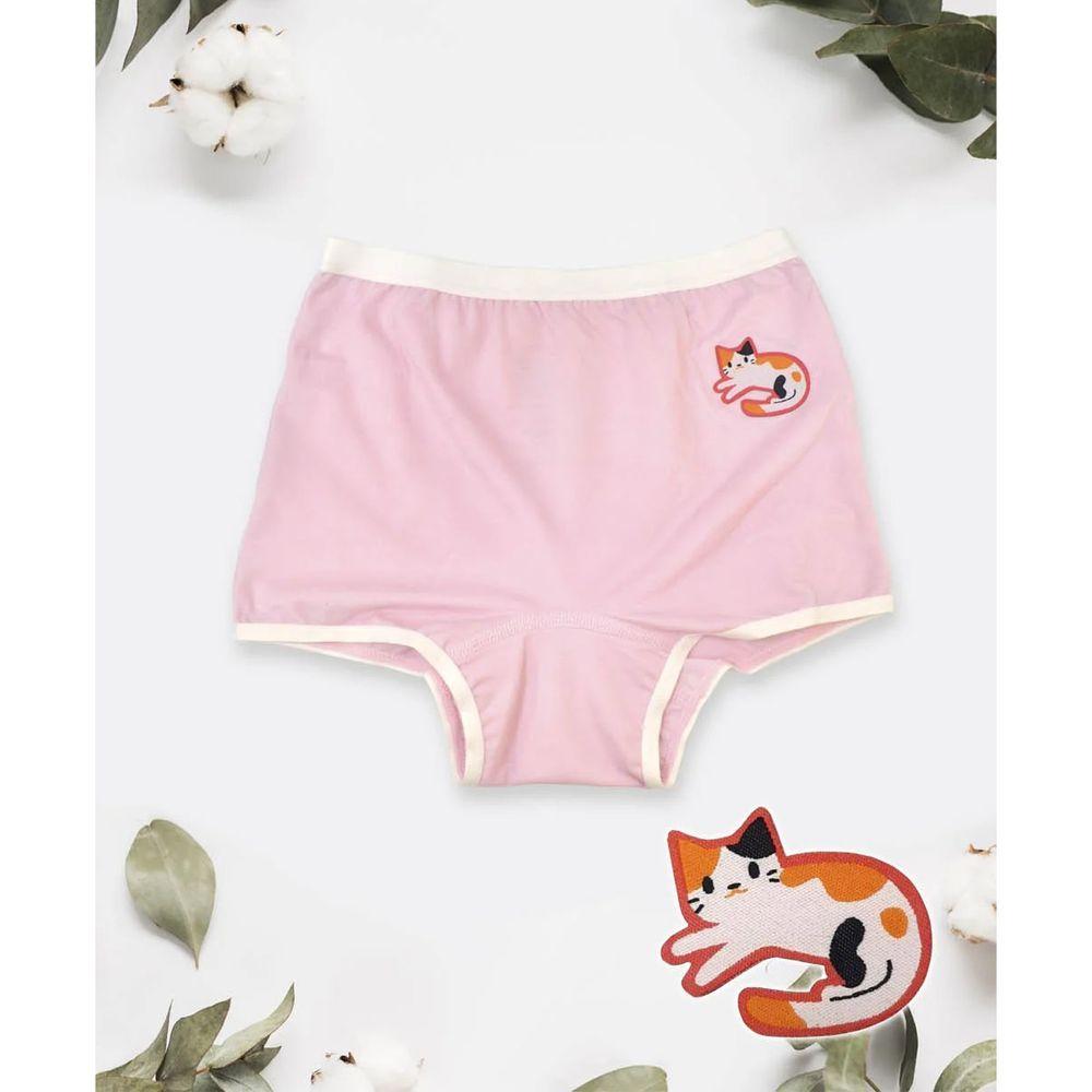 貝柔 Peilou - 天絲棉舒膚平衡童女平口褲-貼布繡-小貓-粉