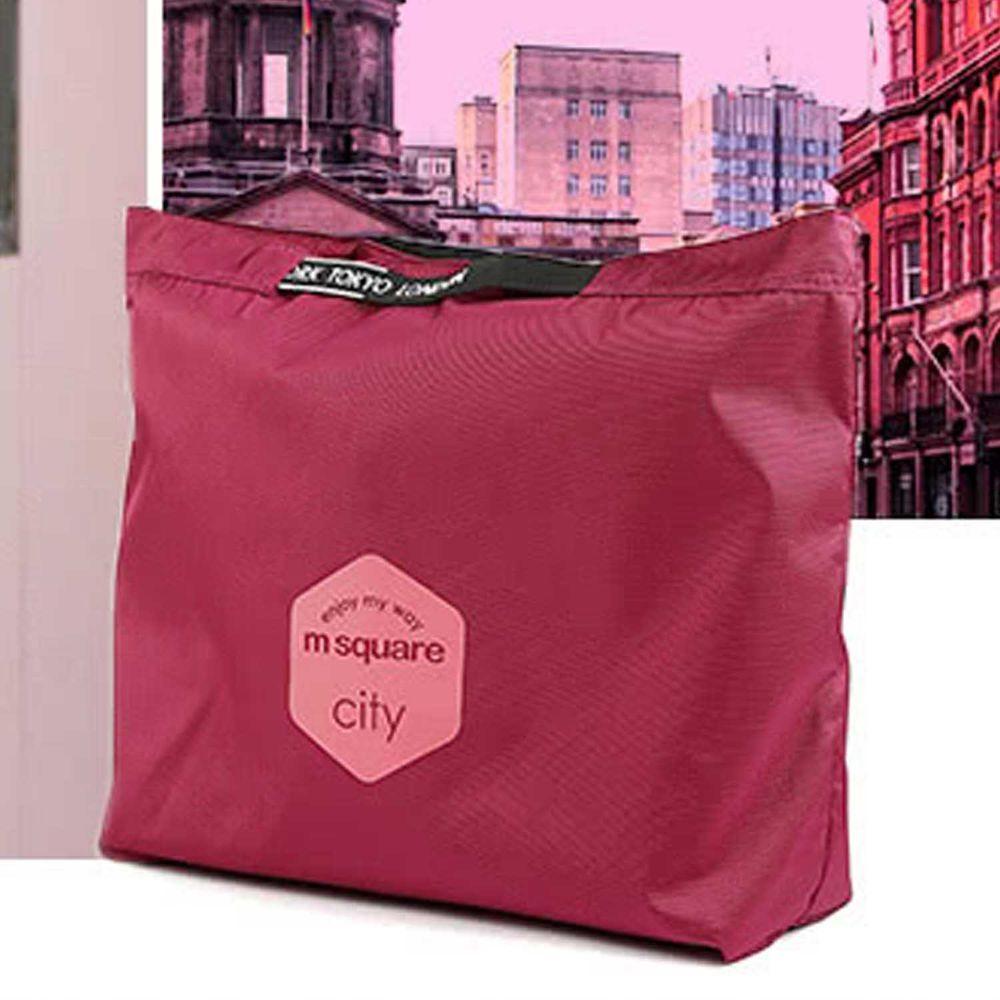 m square - 字母拉鏈折疊購物袋 M-紫紅色 (33.5*10*27cm)