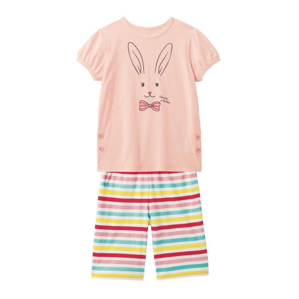 日本千趣會 - GITA 印花短袖家居服-線條小兔-粉