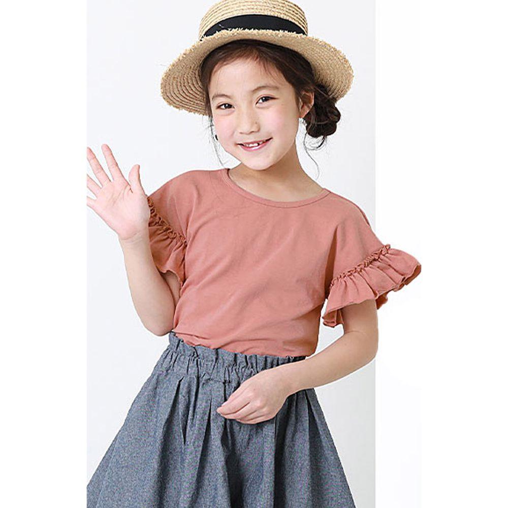 日本 devirock - 純棉 美背大蝴蝶結荷葉邊短T-星塵粉