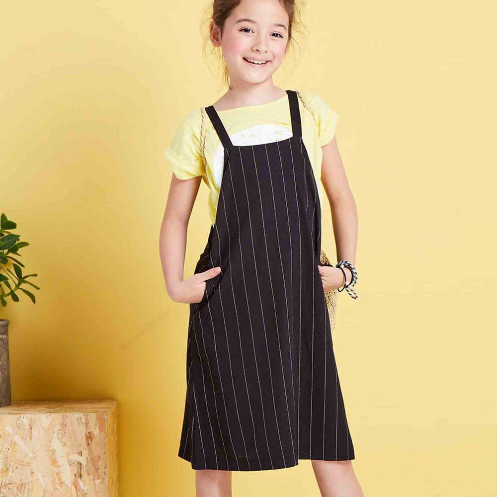 麗嬰房 Little moni - 經典條紋吊帶洋裝-黑色