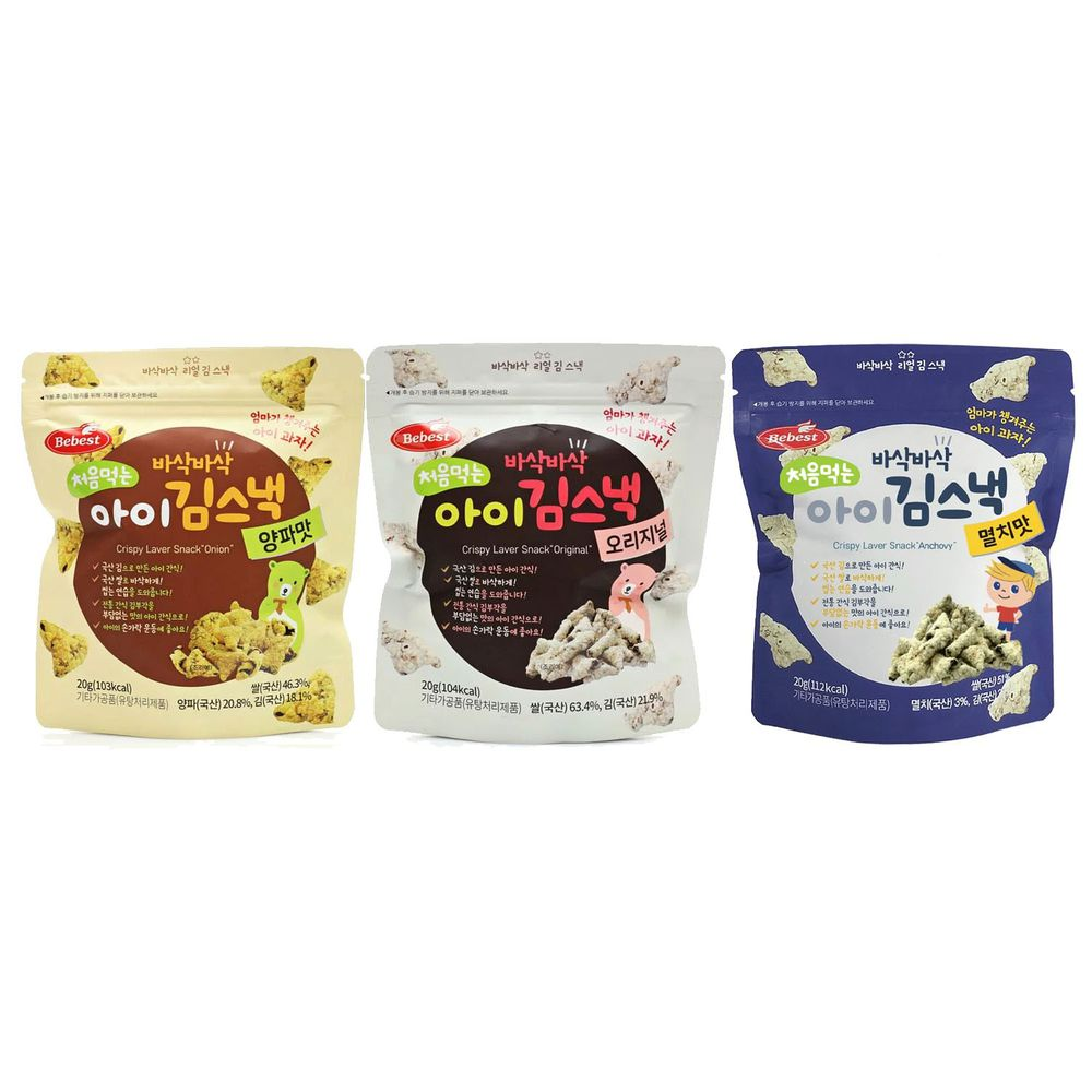 韓國Bebest貝思 - 海苔脆點心3入組-原味*1+洋蔥*1+鯷魚*1