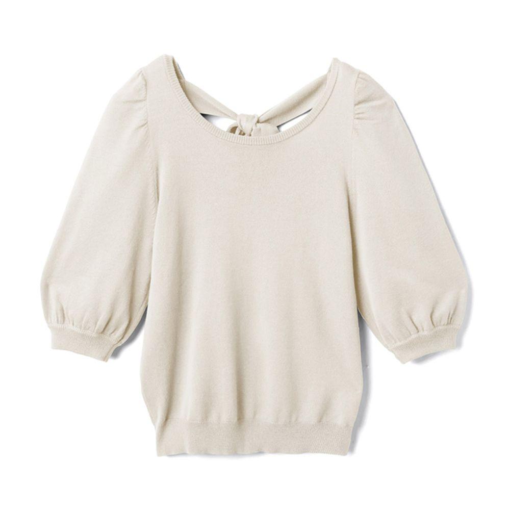 日本 GRL - 美背蝴蝶結綁帶針織五分袖上衣-天使白