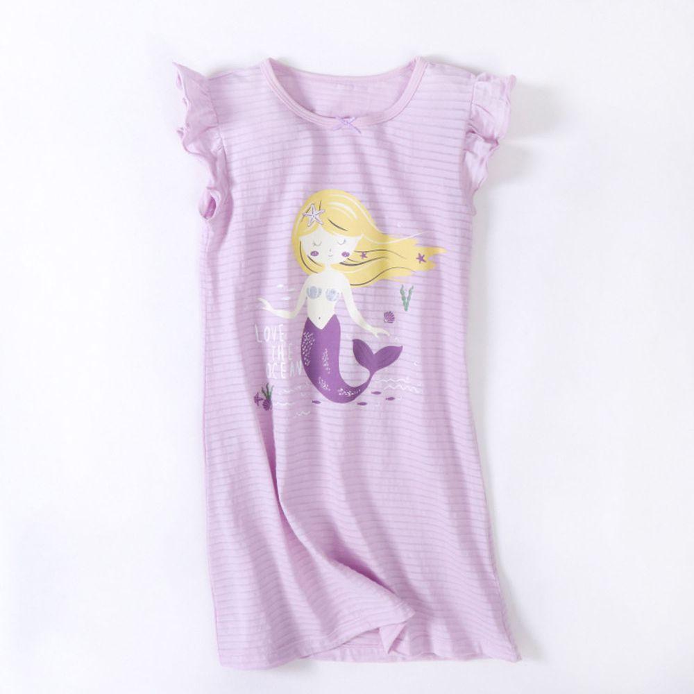 竹節棉荷葉袖睡衣/睡裙-美人魚-紫色