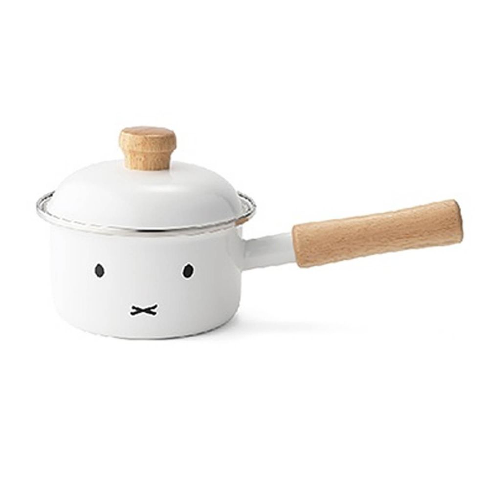 FUJIHORO 富士琺瑯 - 米菲兔系列-12cm單柄附蓋琺瑯調理鍋-容量:0.8L 重量:0.5kg