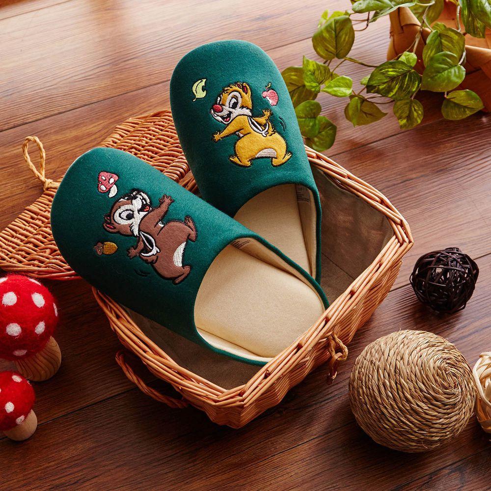 日本千趣會 - 迪士尼室內拖鞋(低反發)-奇奇蒂蒂-深綠