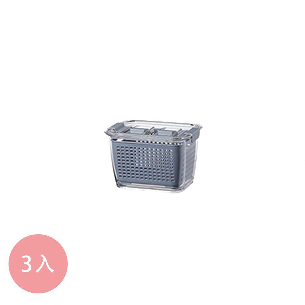 日本霜山 - 雙層蔬果瀝水冰箱保鮮盒附密封蓋-480ml-3入