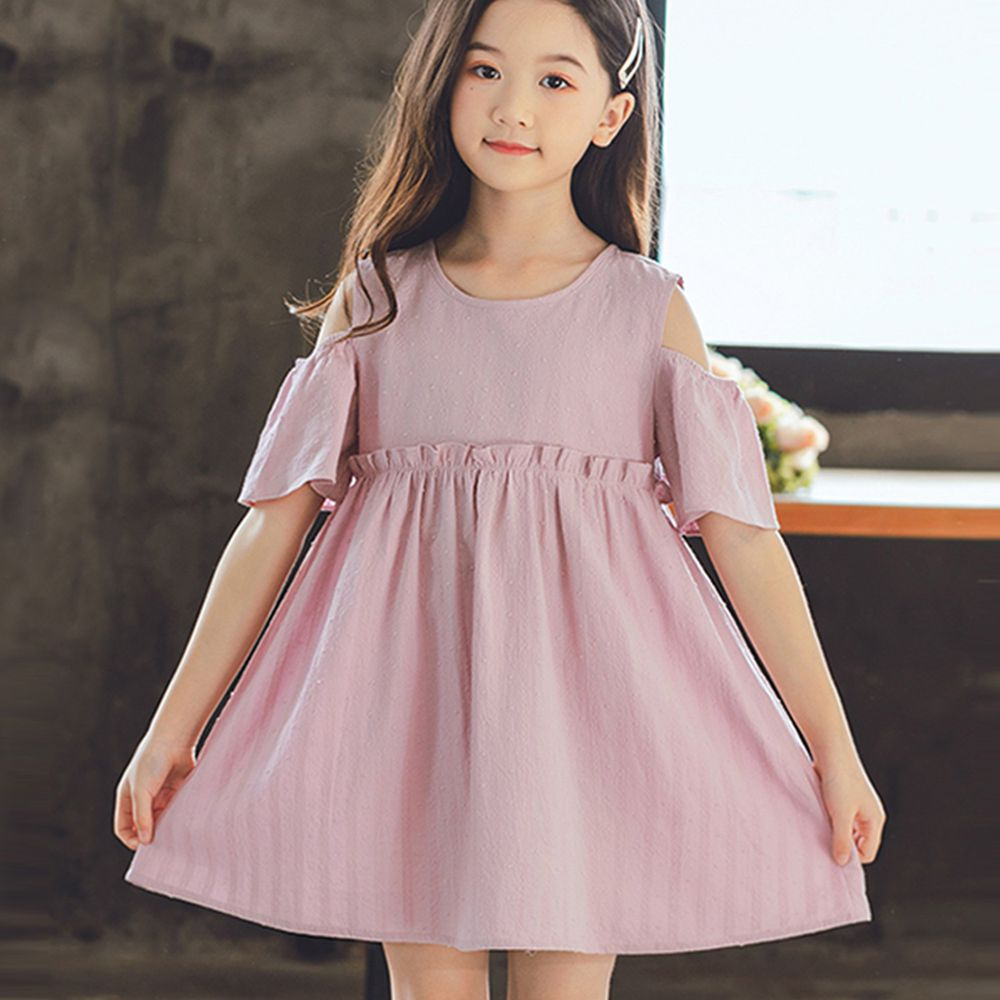 TOUNGIEE - 微露肩粉色甜美洋裝-(剩140.150)