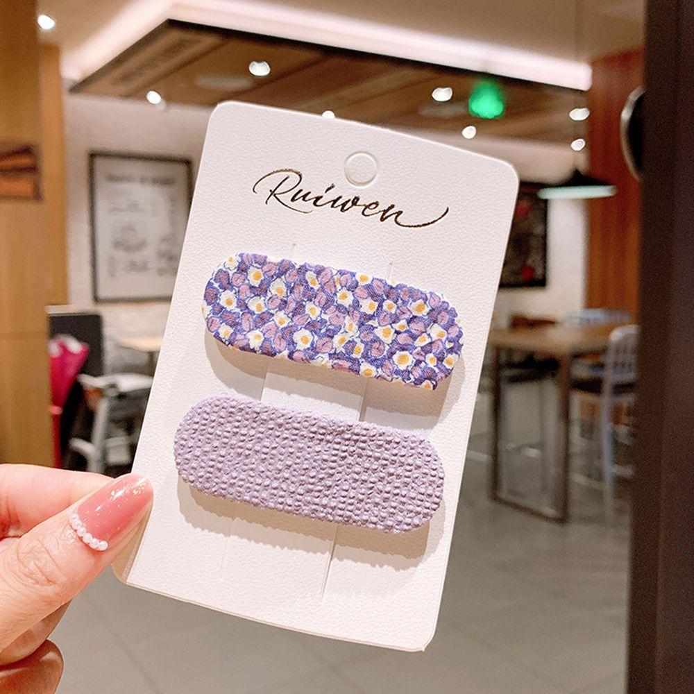甜美印花布藝髮夾2件組-紫色