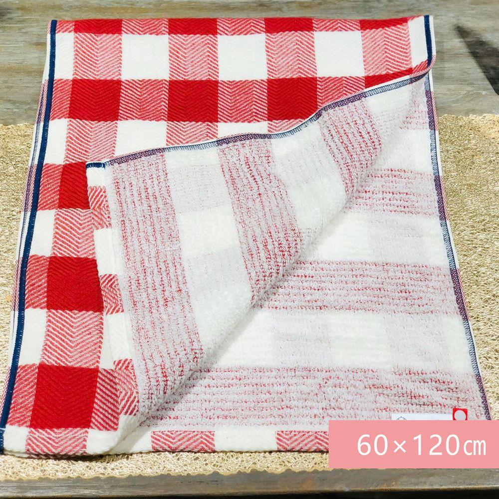 日本代購 - 【HartWELL】 日本今治產 雙面織法純棉浴巾-格紋-紅 (60×120㎝)