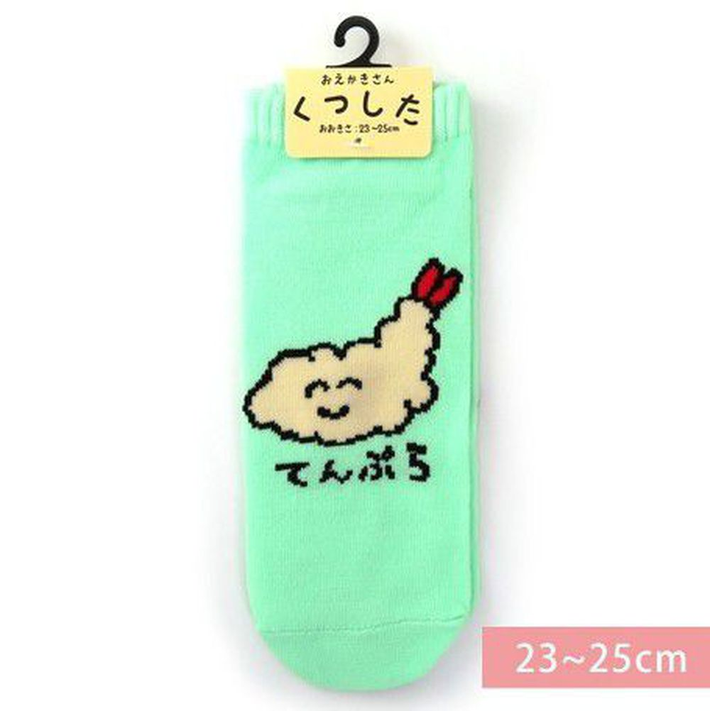 日本 OKUTANI - 童趣日文插畫短襪-炸蝦 (23-25cm)