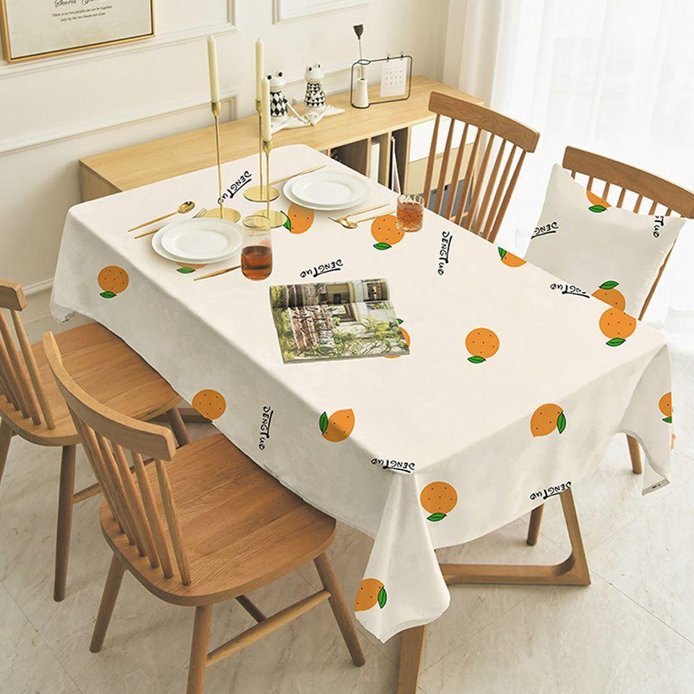 防水防油免洗桌布-橘子-白色