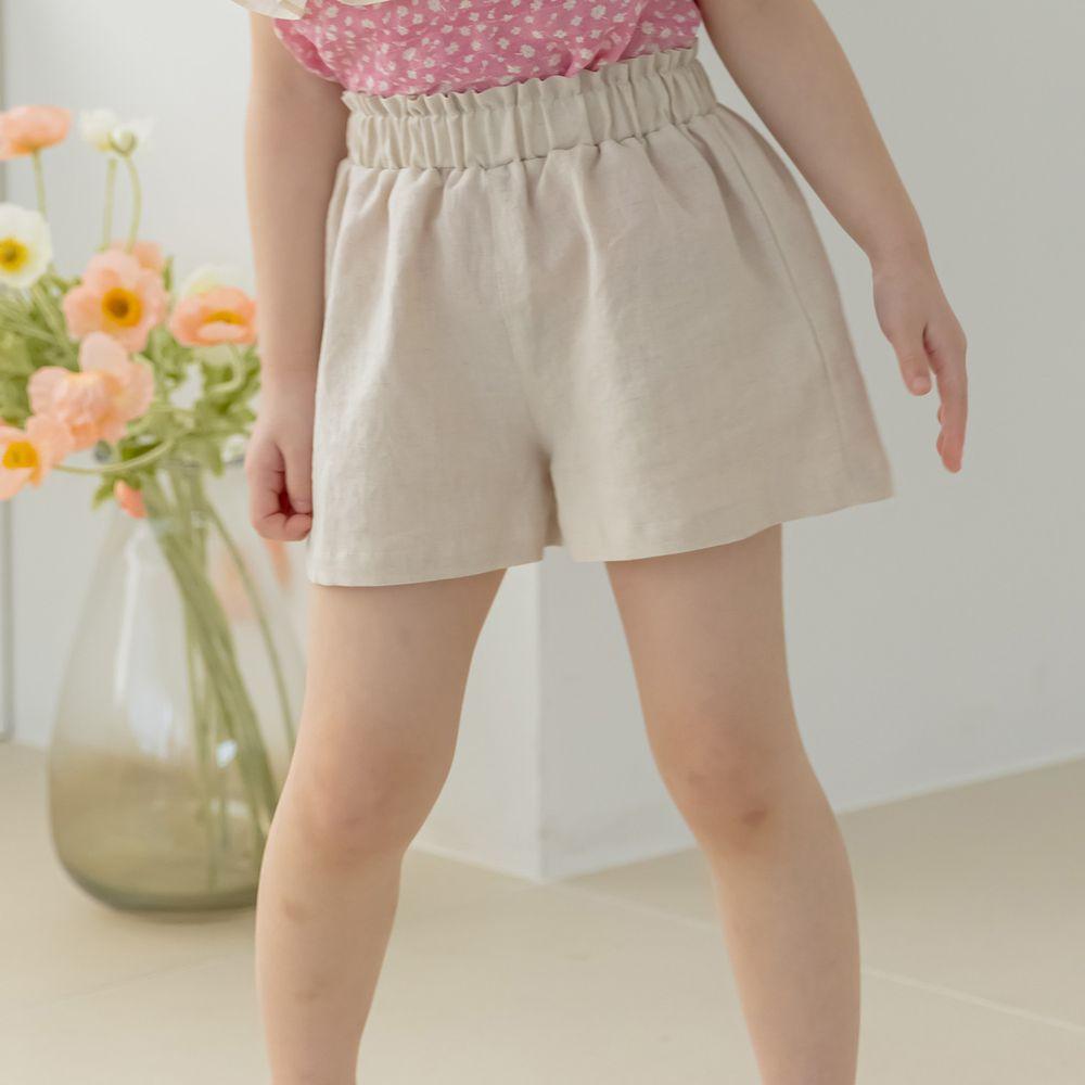 韓國 Orange Mom - 鬆緊褲頭舒適小短褲-燕麥白