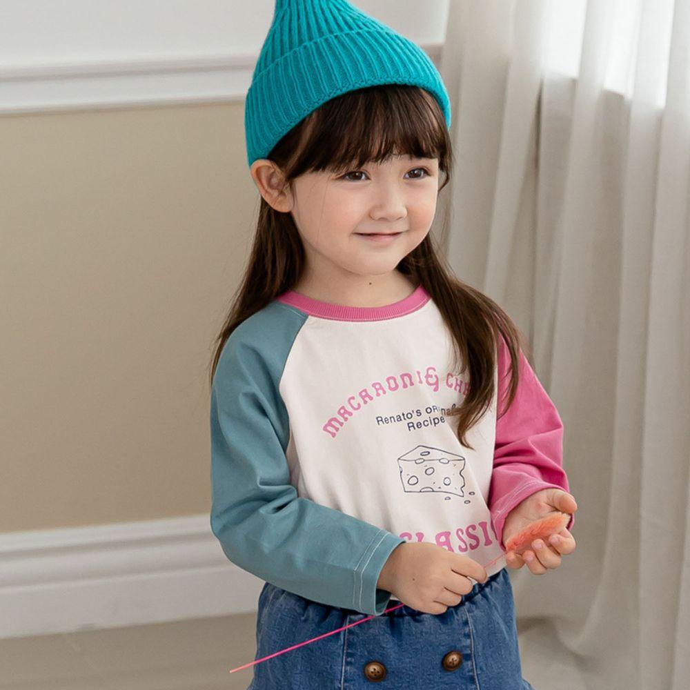 韓國 ERU - 彩虹拼接色袖T-粉紅X藍