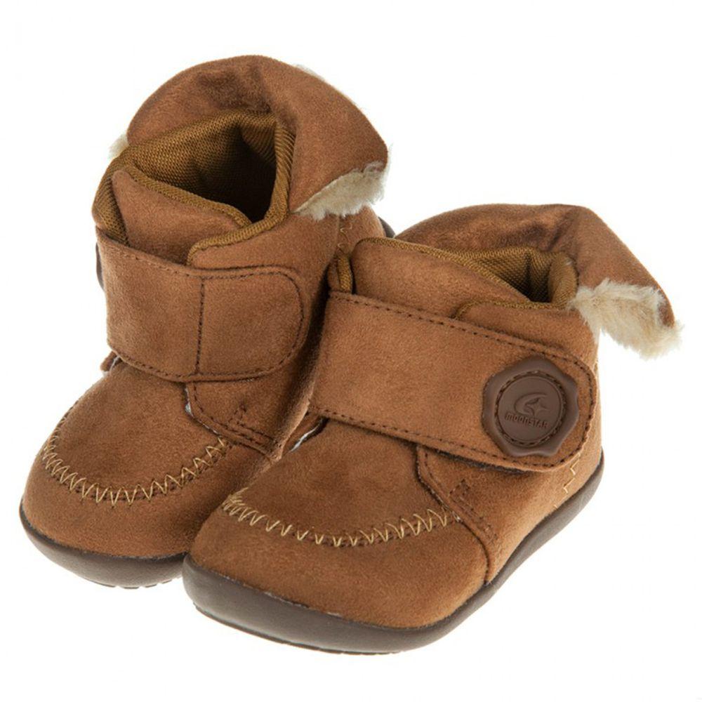 Moonstar日本月星 - HI系列棕色麂皮寶寶機能學步鞋