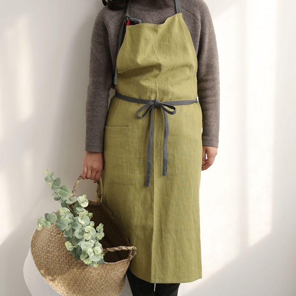 前繫帶雙色棉麻圍裙-抹茶綠