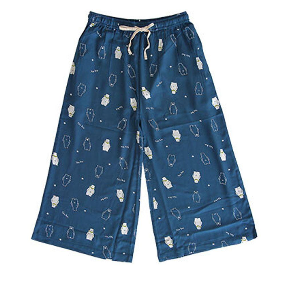 日本女裝代購 - COOL 涼感柔軟舒適家居長褲/睡褲-北極熊-深藍 (M-L Free)