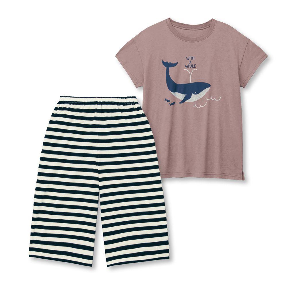 日本千趣會 - 純棉涼爽舒適短袖家居服(媽媽)-鯨魚-摩卡
