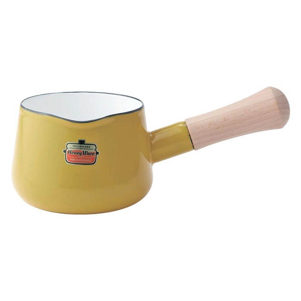 FUJIHORO 富士琺瑯 - Solid 經典系列-12cm單柄琺瑯牛奶鍋-芥末黃-容量:0.75L 重量:0.5kg
