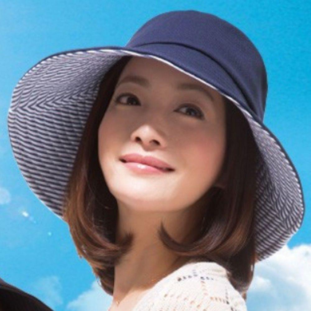 日本 SUN FAMILY - 12cm帽簷可折疊抗UV涼感遮陽帽-深藍x條紋 (頭圍57.5cm內)