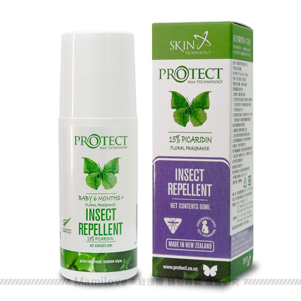 紐西蘭 Skin Technology Protect - 15%派卡瑞丁Picaridin 瑞斌6H長效防蚊滾珠瓶-花香-60ml (有效期限到: 2022/10/01)