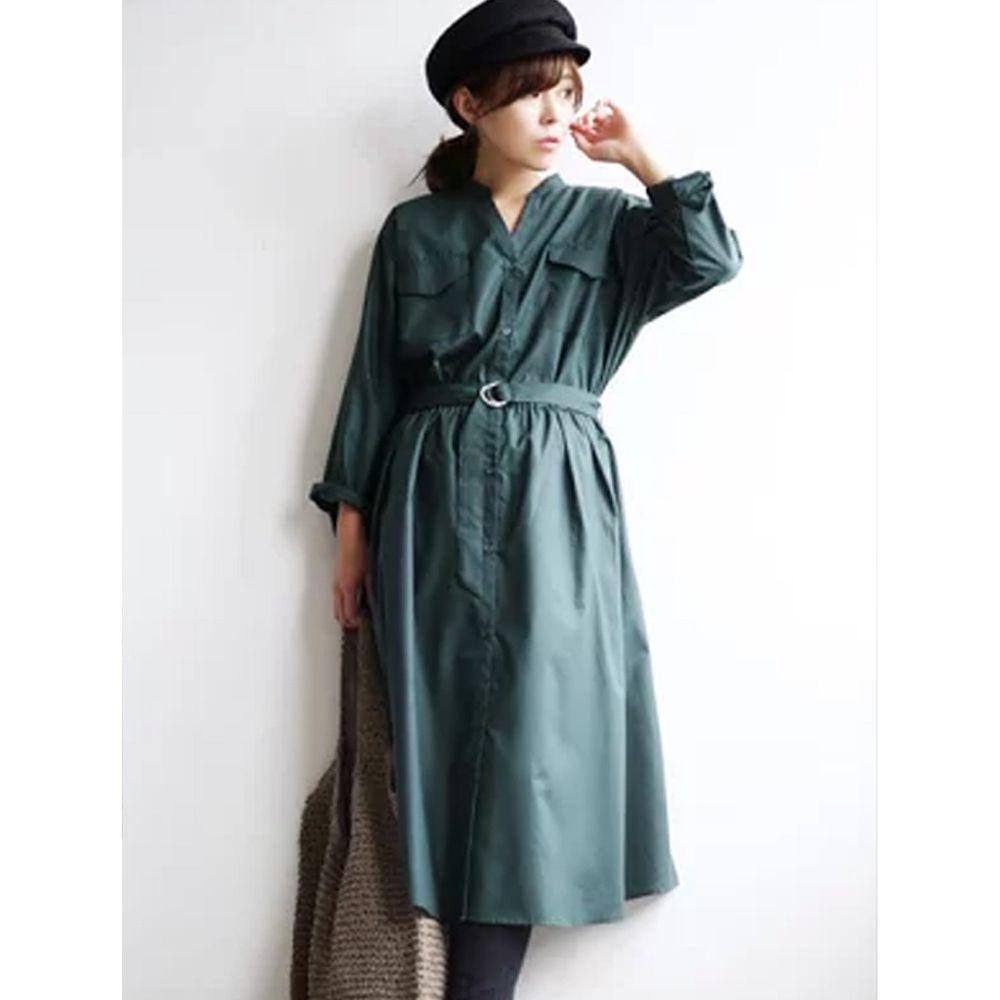 日本 zootie - 質感光澤帥氣工裝襯衫洋裝/外套-墨綠