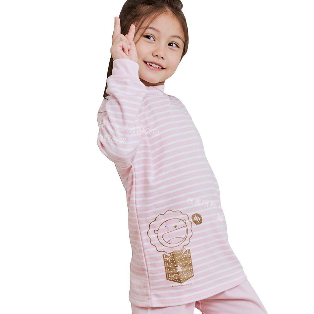 GIAT - 奶油獅保暖長袖上衣(立領)-粉色條紋