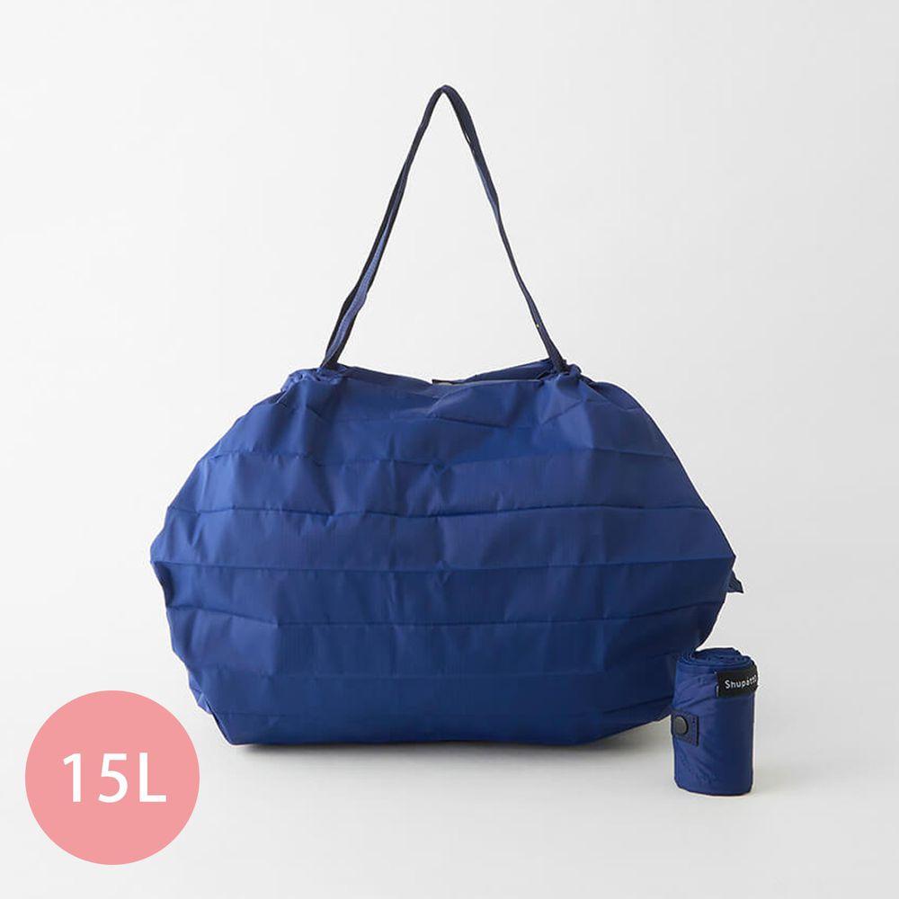 日本 MARNA - Shupatto 秒收摺疊購物袋-五週年限定升級款-沈靜藍 (M(30x35cm))-耐重5kg / 15L