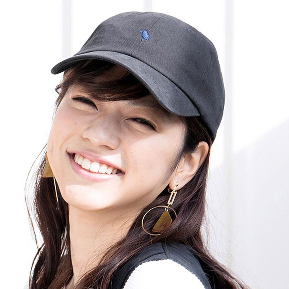 日本 irodori - 【irodori】logo簡約刺繡純棉棒球帽-黑