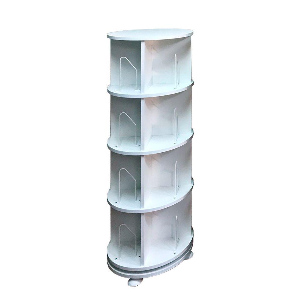 第一博士 - 360° 旋轉書櫃-四層式(高度137cm)-雪白-支架16入+水平儀4入