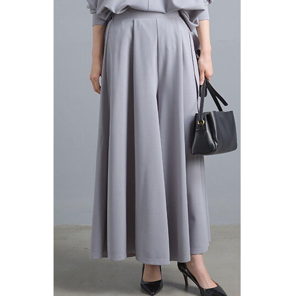 日本女裝代購 - 不易皺鬆緊傘襬褲裙-淺灰