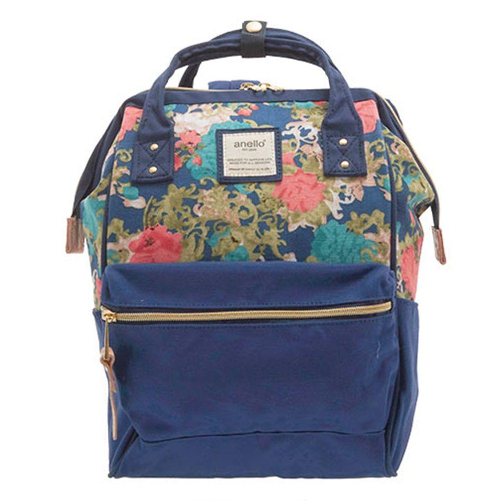日本 Anello - 大開口帆布後背包-mini小尺寸-FNV藍花