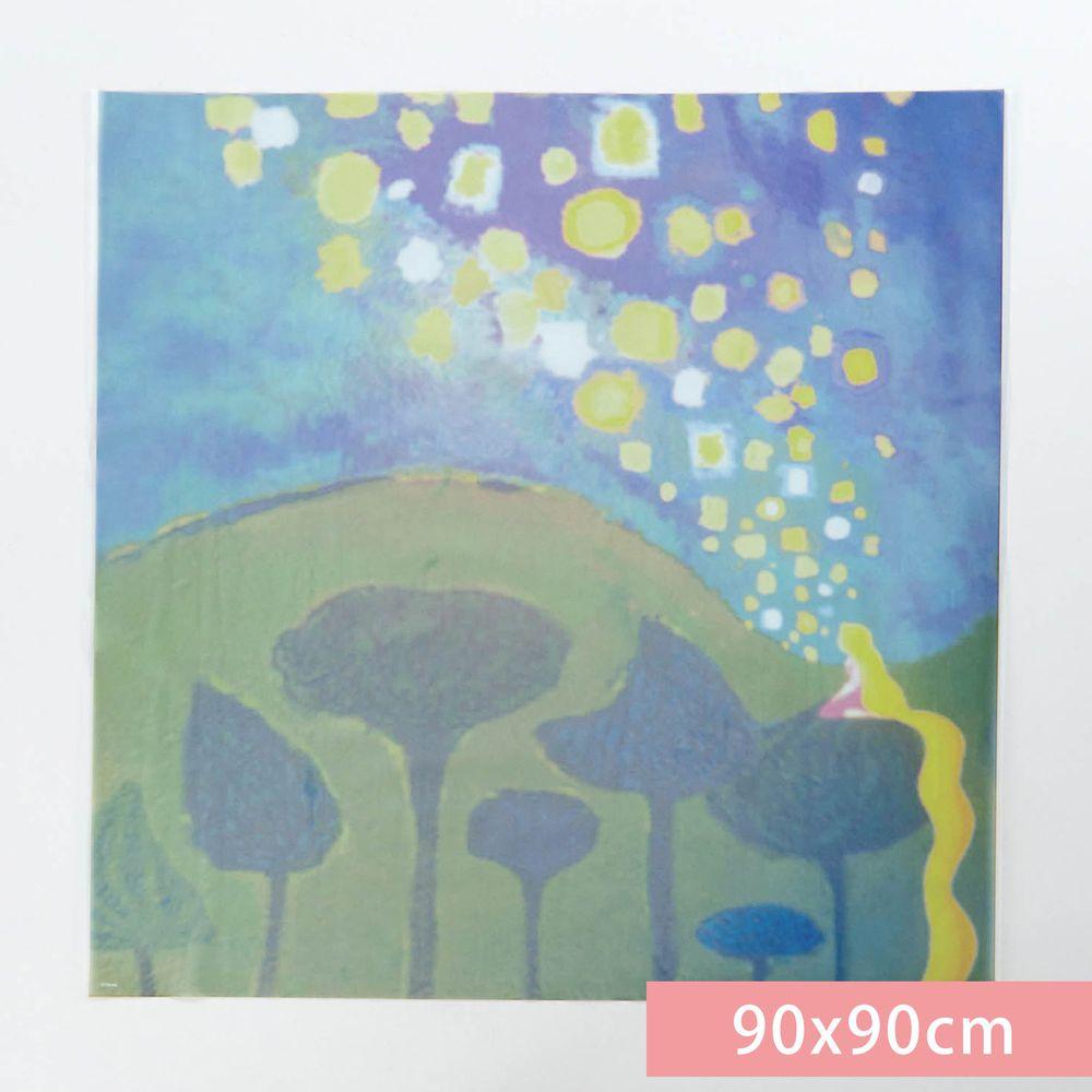 日本千趣會 - 迪士尼 日本製 90%抗UV光影窗貼(靜電式)-長髮公主-藍綠 (90x90cm)