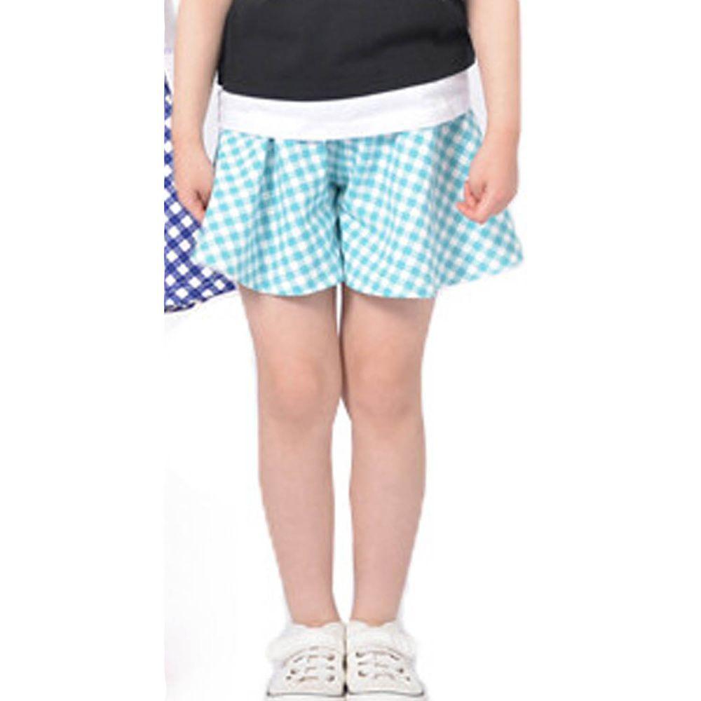 日本 TORIDORY - 蝴蝶結傘狀褲裙-薄荷格子