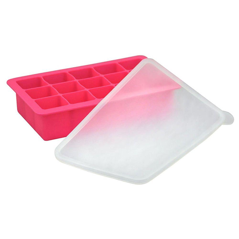 美國 green sprouts - 寶寶副食品15格冷凍盒/製冰盒-桃紅色