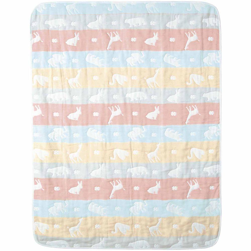 日本 Combi - mini系列-六層紗長形包巾-粉彩動物 (100x75cm)