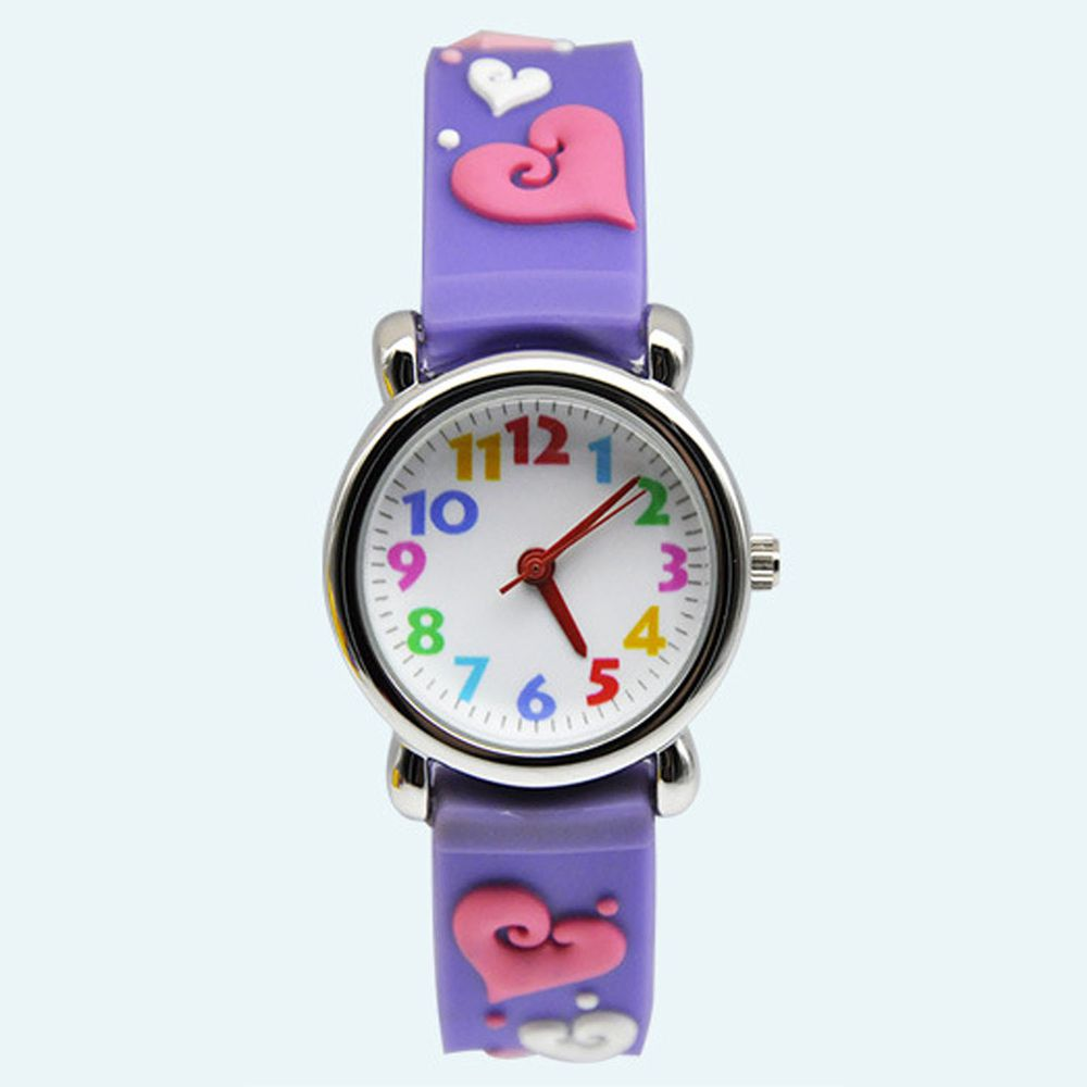 3D立體卡通兒童手錶-經典小圓錶-紫X粉愛心
