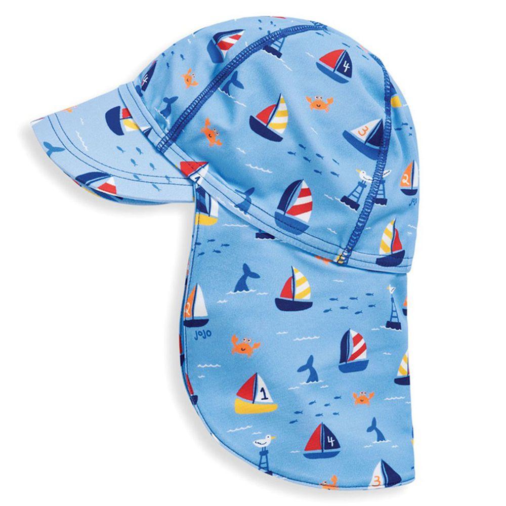 英國 JoJo Maman BeBe - 嬰幼兒/兒童泳裝戲水UPF50+防曬護頸遮陽帽-一帆風順