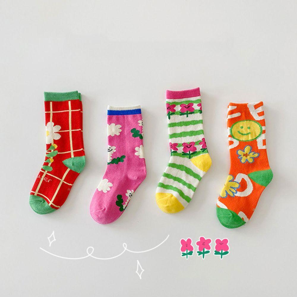繽紛花朵中筒襪(4雙一組)