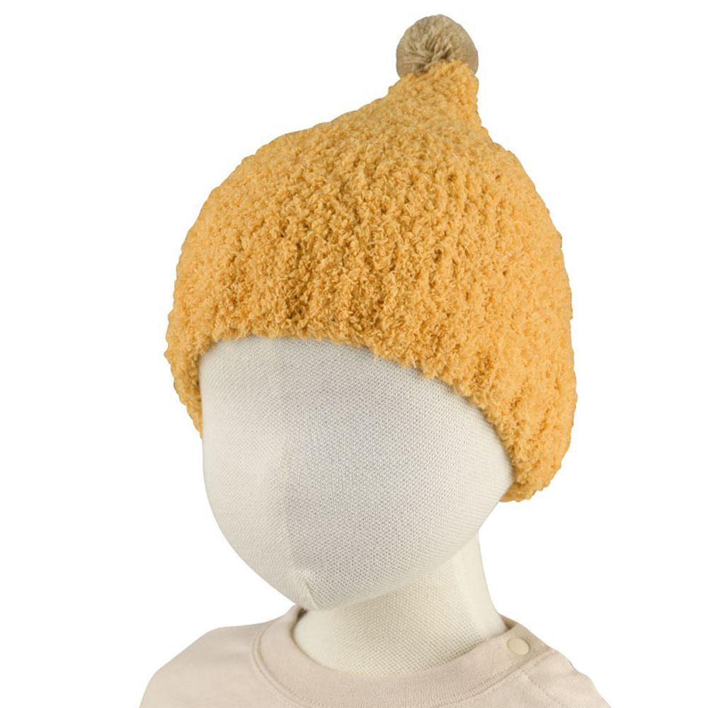 akachan honpo - 毛茸茸毛球針織帽-芥末黃色